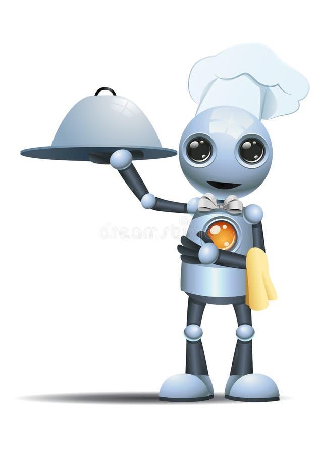 Elegant manlig kock för liten robot royaltyfri illustrationer