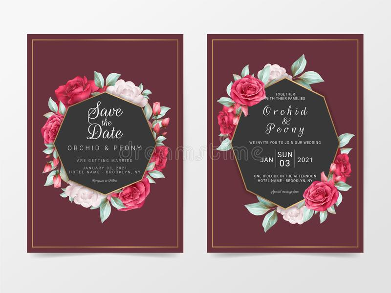 Elegant maroon wedding invitation card template with watercolor floral. Luxury wedding cards of flowers and golden decoration. Vector stock illustration
