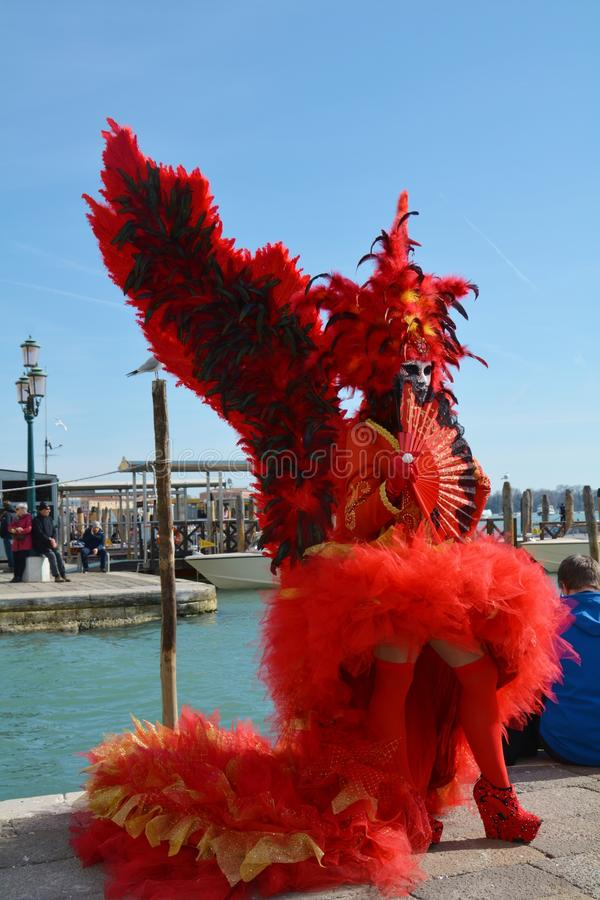 Elegant mask with wings and feathers, Venice, Italy stock photos