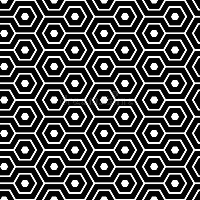 Elegant meandering hexagon in black and white. Geometrical vector seamless pattern. Abstract honeycomb design. Great for vector illustration