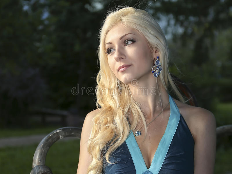 Elegant meisje in blauwe kleding stock fotografie