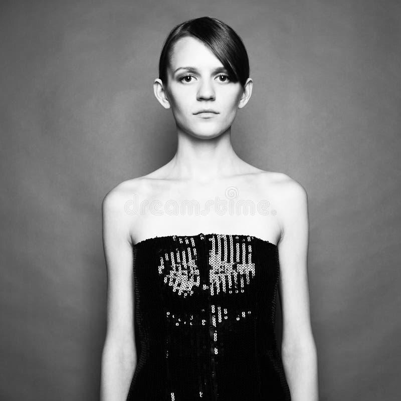 Elegant meisje in kleding royalty-vrije stock foto