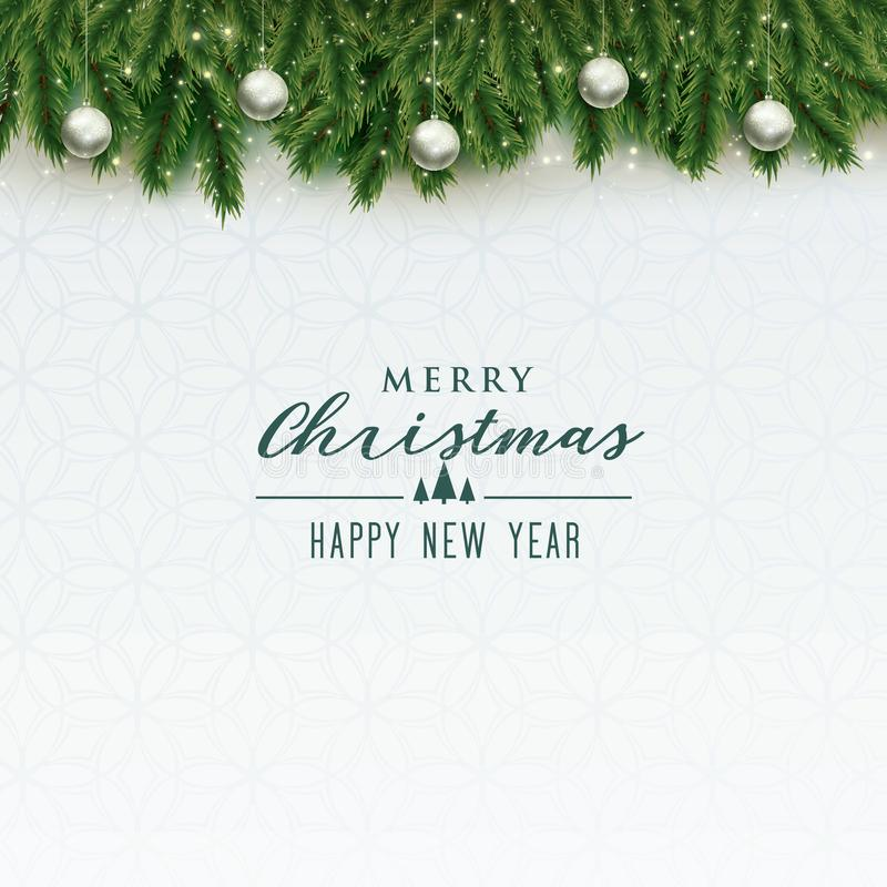 Elegant merry christmas background with silver balls royalty free illustration