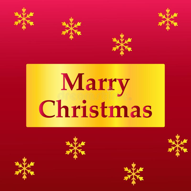 Elegant Merry Christmas lettering design with shining gold glittering snowflakes in gold frame on red background. Vector vector illustration