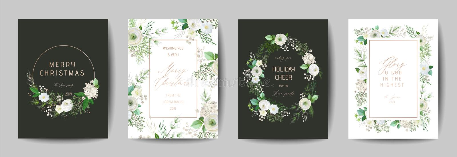 Elegant Merry Christmas and New Year 2020 Card with Pine Wreath, Mistletoe, Winter Plant design for greetings ilustracji