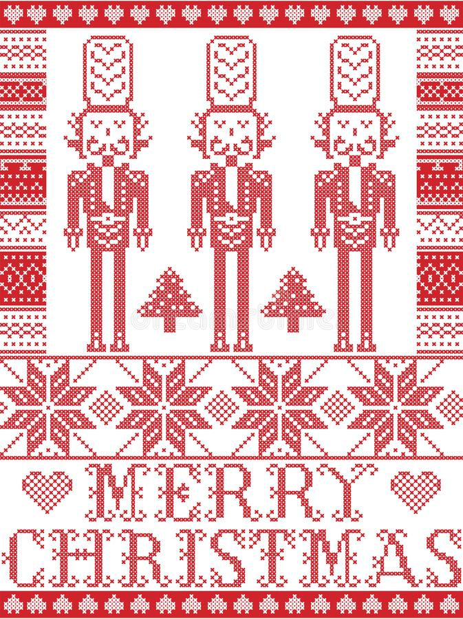Elegant Merry Christmas Scandinavian, Nordic style winter pattern including snowflake, heart, nutcracker soldier, Christmas tree, stock illustration