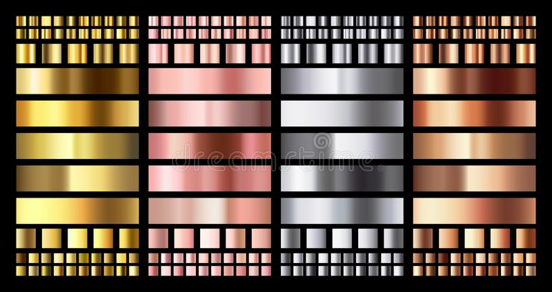 Elegant metallic gradient. Shiny rose gold, silver and bronze medals gradients. Golden, pink copper and chrome metal stock illustration
