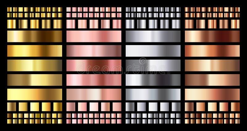 Elegant metallisk lutning Skinande rosa guld-, silver- och bronsmedaljlutningar Guld- rosa koppar och krommetall stock illustrationer