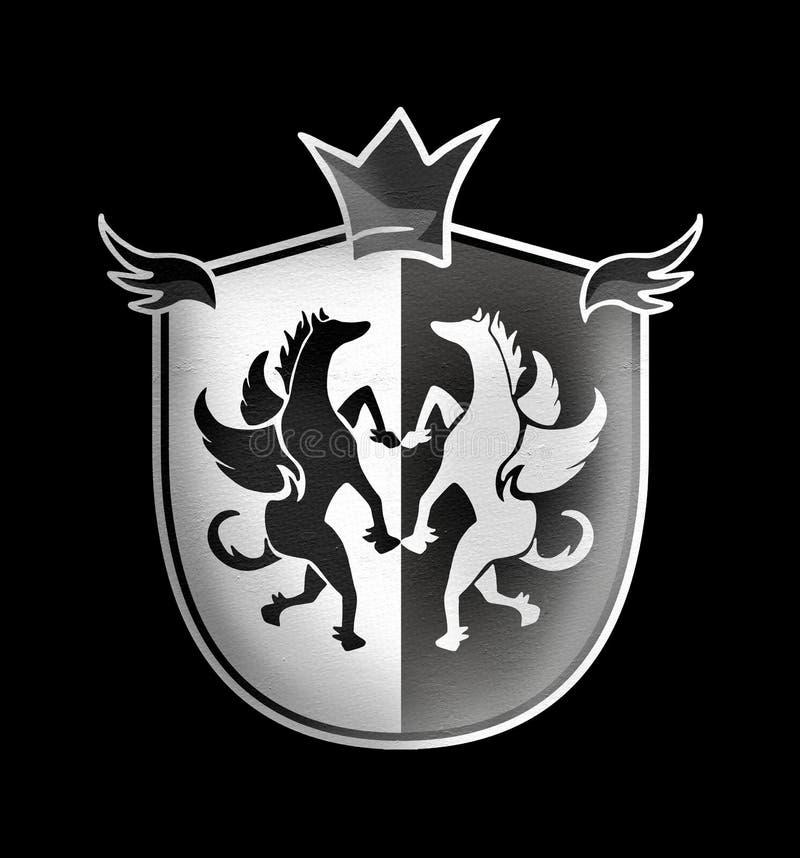 Elegant middeleeuws embleem vector illustratie