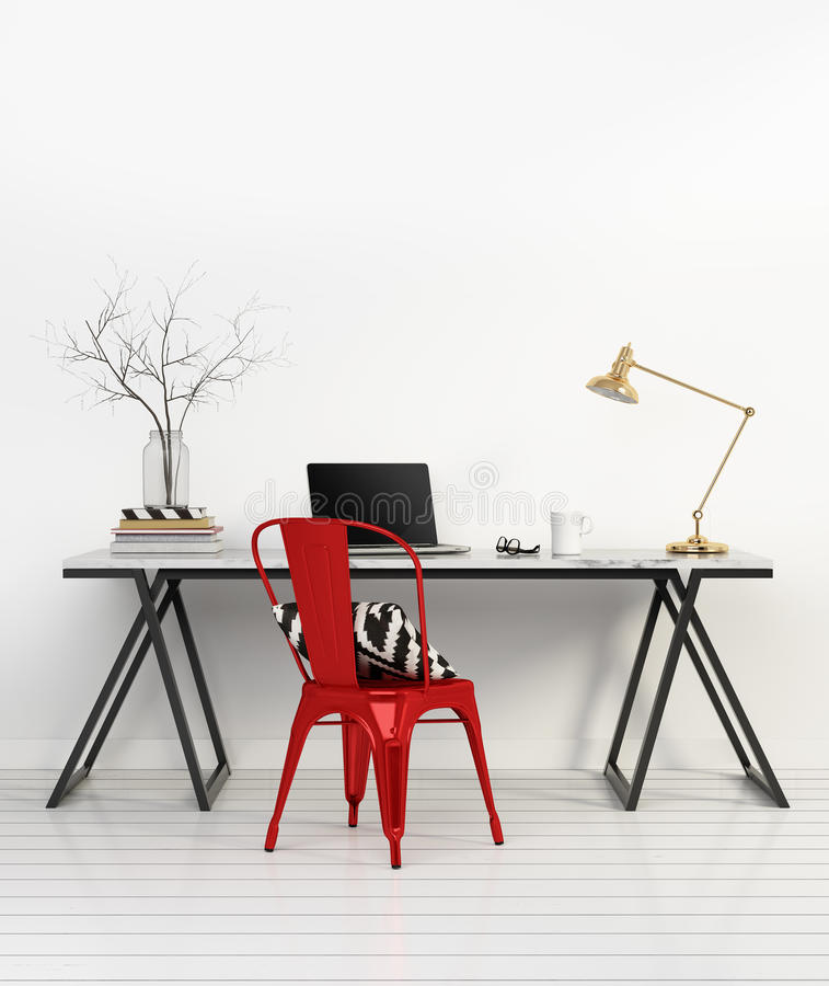 Elegant minimal white home office with red chair vector illustration