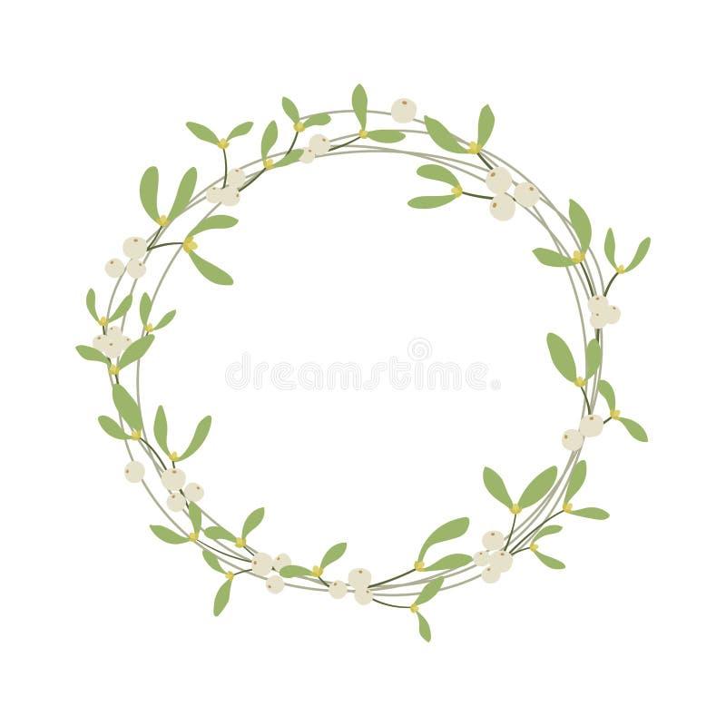 Elegant mistletoe wreath vector illustration