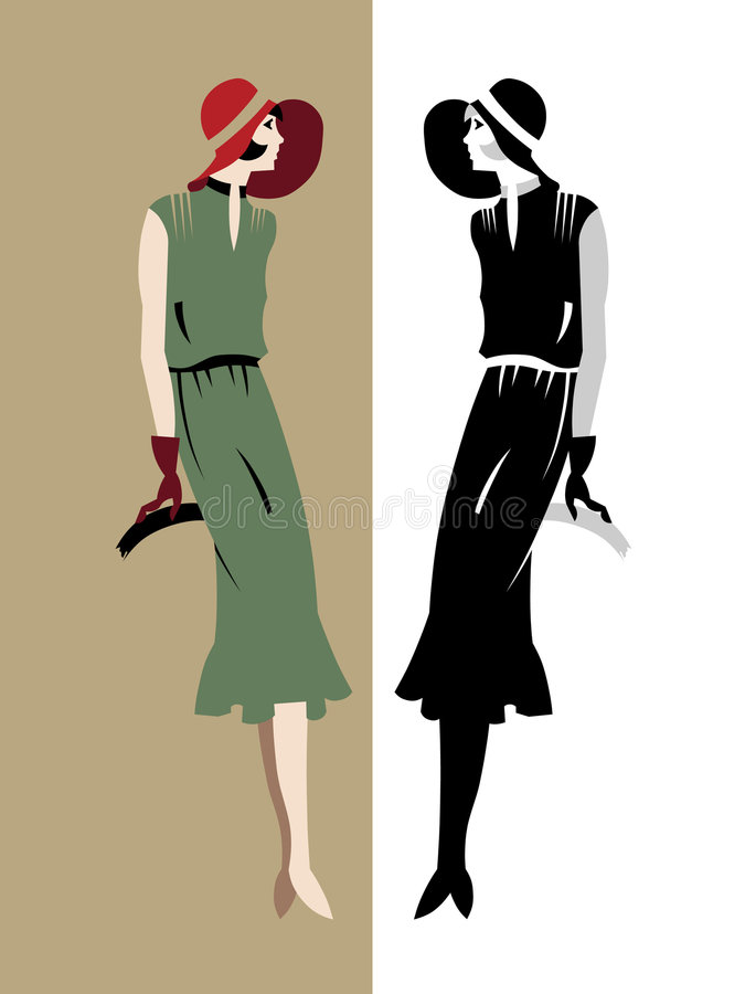 elegant model retro stil stock illustrationer
