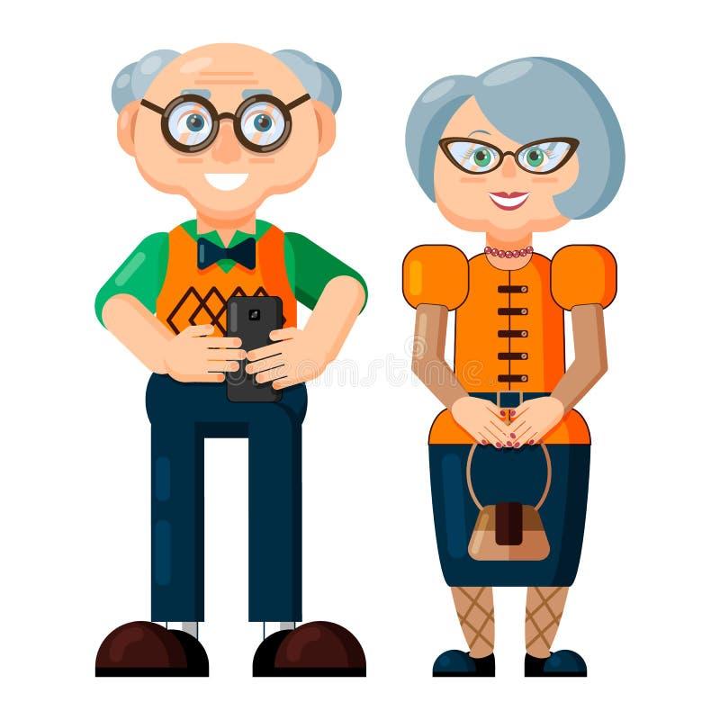 Elegant moderiktig le gammal kvinna och gamal man vektor illustrationer