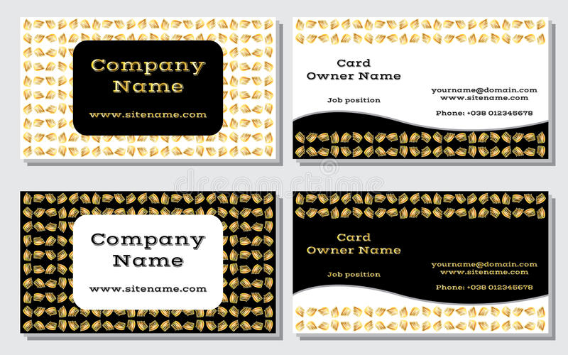 Elegant and modern business card. The refined design. A beautiful combination of gold, yellow, white and black colors vector illustration