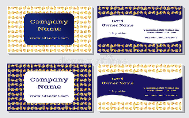Elegant and modern business card. The refined design. A beautiful combination of gold, yellow, white and rich, deep blue stock illustration