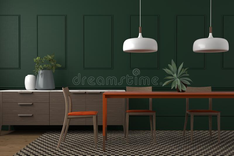 Elegant And Modern Dinning Room Interior Design Setting With Dark Green Wall Stock Illustration Illustration Of Decor Decoration 173113957