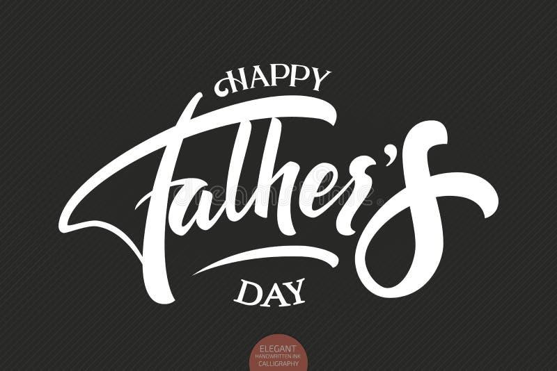 Elegant modern handskriven kalligrafi för lycklig dag för fader` s Vektorfärgpulverillustration Typografiaffisch på mörk bakgrund royaltyfri illustrationer