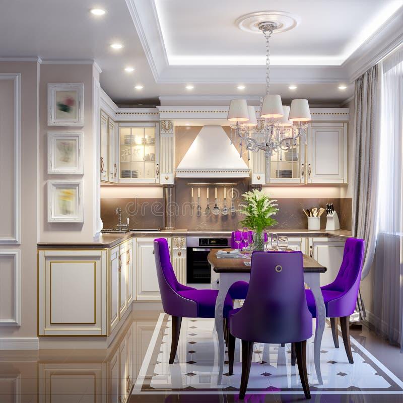 Elegant Modern Klassiek Keuken Binnenlands Ontwerp royalty-vrije illustratie
