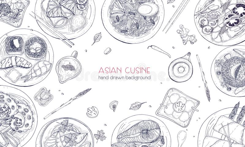 Elegant monochrome hand drawn background with traditional Asian food, detailed tasty meals and snacks of oriental royalty free illustration