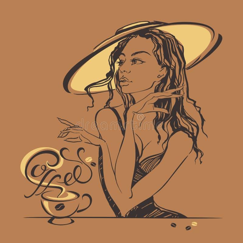 Elegant mooi meisje in een hoed het drinken koffie Koffie-onderbreking lettering royalty-vrije illustratie
