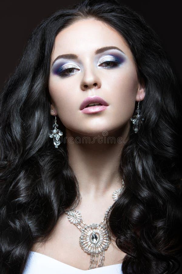 Elegant mooi meisje met zilveren make-up en zwarte krullen De winterbeeld Het Gezicht van de schoonheid royalty-vrije stock fotografie