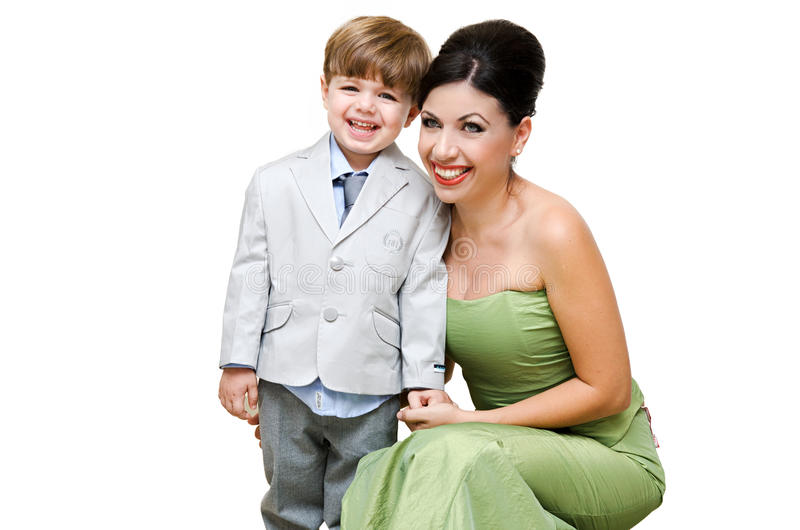 Elegant mother and child stock photos