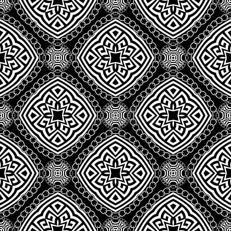Elegant, mycket vackert mönster med svart och vit vektor, sömlöst Ornament, grek stil, etnisk bakgrund stock illustrationer