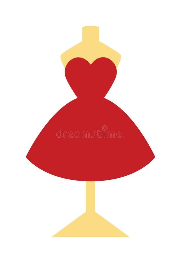 Elegant nätt boutique för mode för klänning för coctailafton lite röd på skyltdockavektorillustration vektor illustrationer