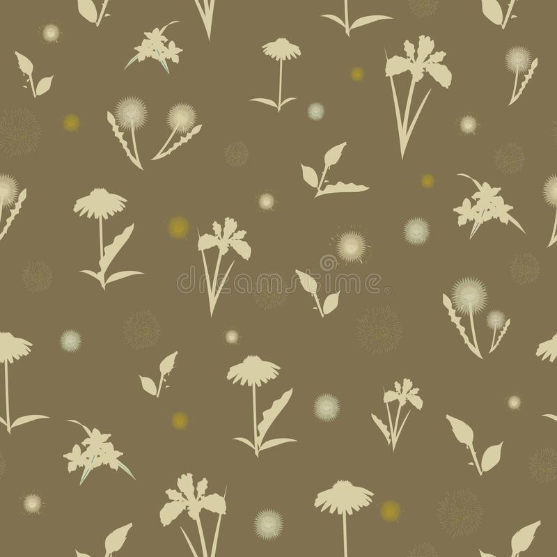 Elegant naadloos patroon met hand getrokken decoratieve hibiscusbloemen, ontwerpelementen royalty-vrije illustratie