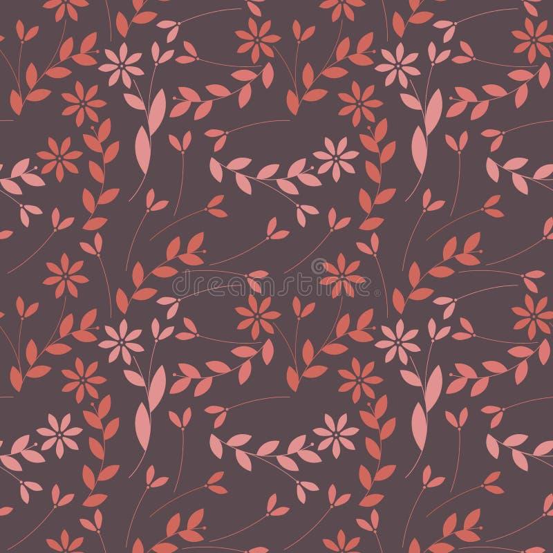Elegant naadloos patroon met installaties, bladeren en bloemen royalty-vrije illustratie