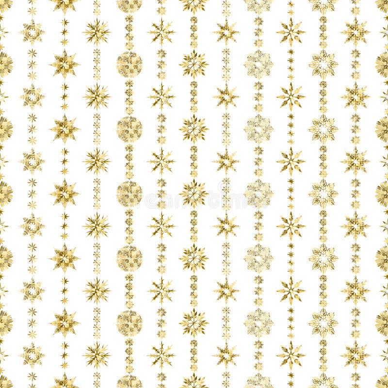 Elegant Naadloos patroon met Kerstmisdecoratie De slinger van sneeuwvlokken met goud schittert op een witte achtergrond royalty-vrije illustratie