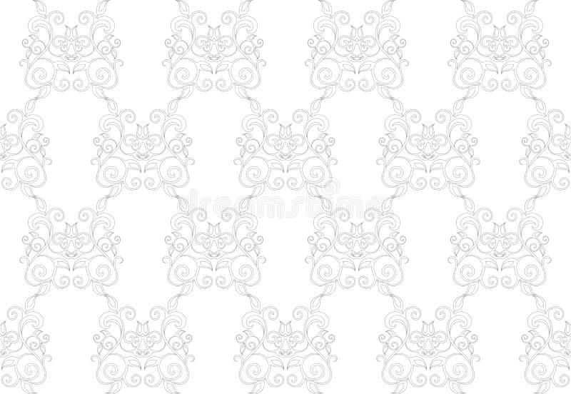 Elegant Naadloos Patroon van Bloemen Uitstekende Klassieke Wijnstokken royalty-vrije illustratie