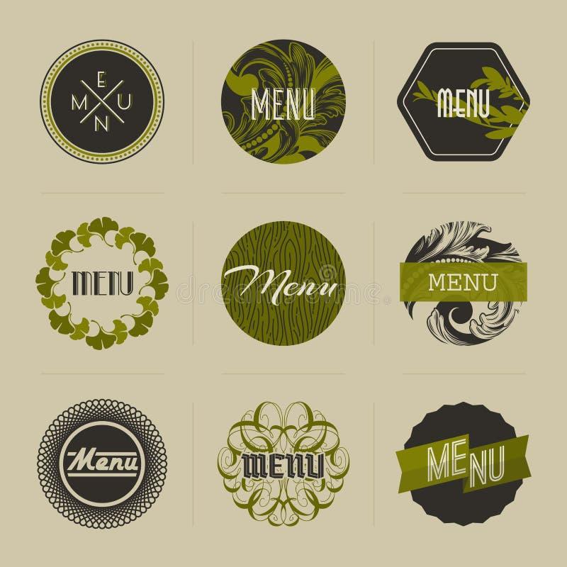 Elegant nature-themed vector badges in green royalty free illustration