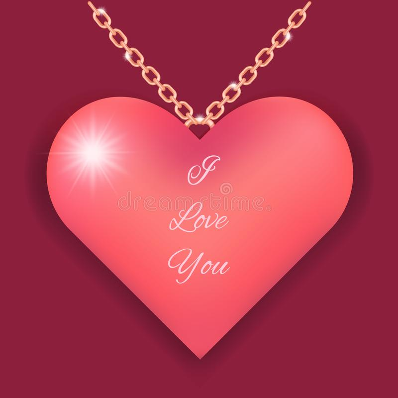 Elegant necklace with pink heart and love you text stock illustration