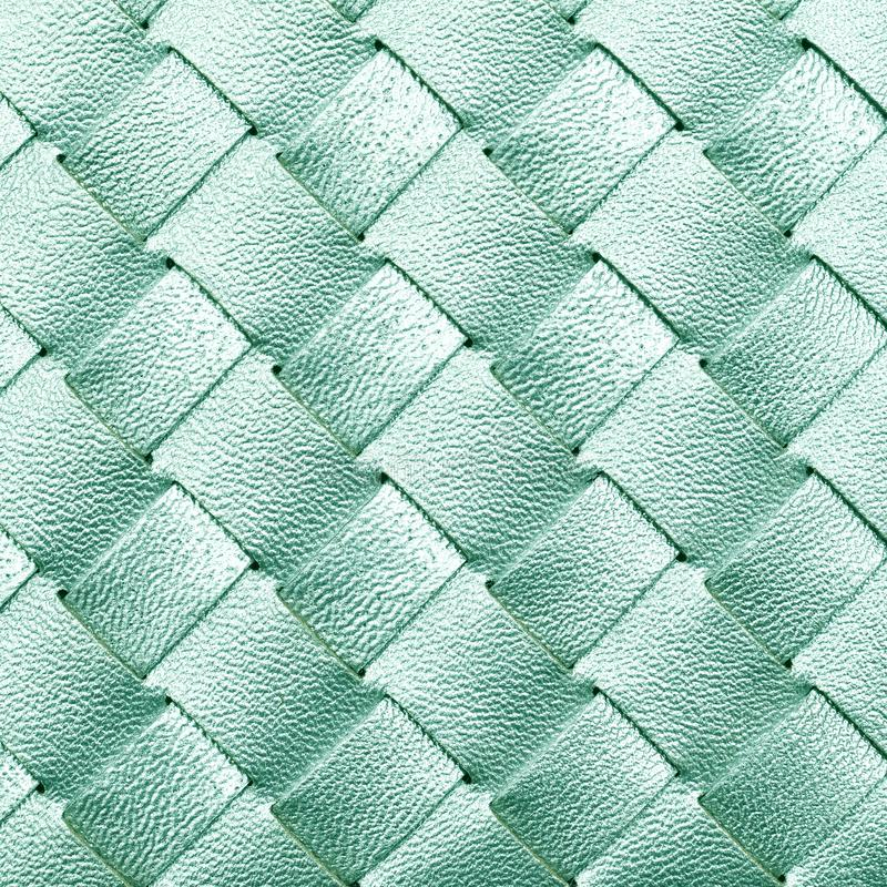 Leather woven texture. Elegant neo mint leather woven texture background. 2020 color royalty free stock images