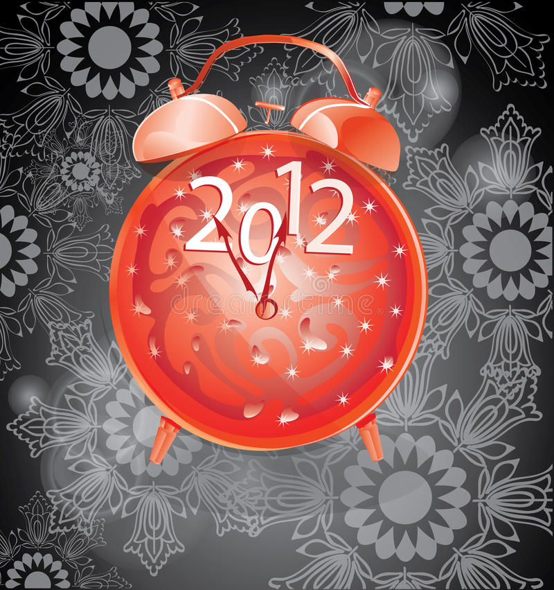 Elegant New Year background with red clock