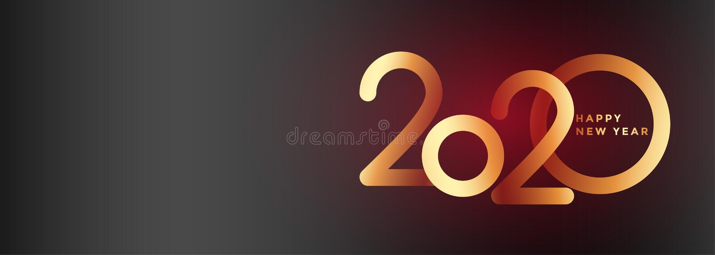 Elegant 2020 new year beautiful banner design stock illustration