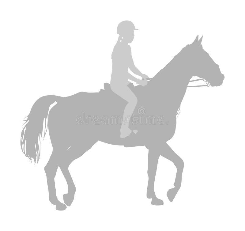 Elegant noteer het rennen paard in galop vectordiesilhouet op witte achtergrond wordt geïsoleerd Jockey het berijden drafpaard in stock illustratie
