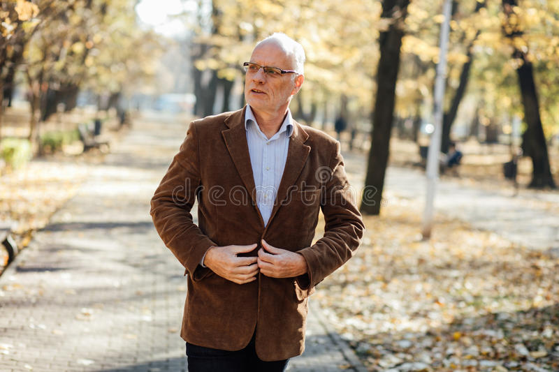 Elegant old men walking royalty free stock photos
