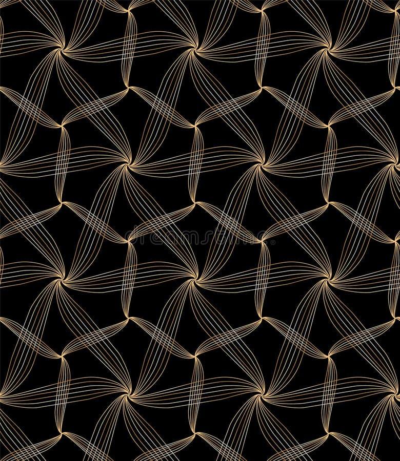 Elegant olden glittery floral geometric background and seamless pattern tile. Golden glittery elegant organic geometric lines seamless pattern tile over black royalty free illustration