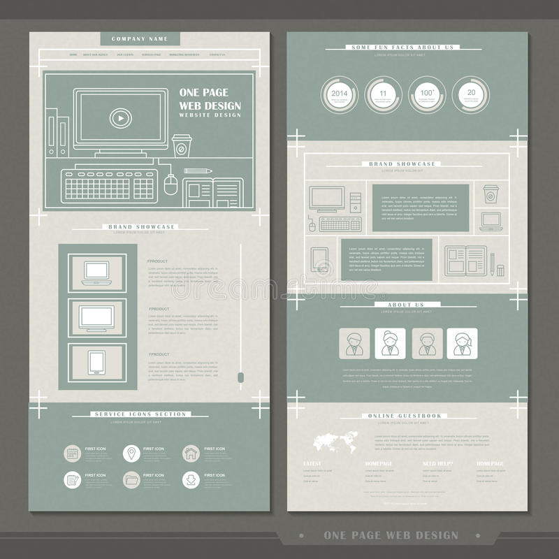 Elegant one page website template design stock illustration