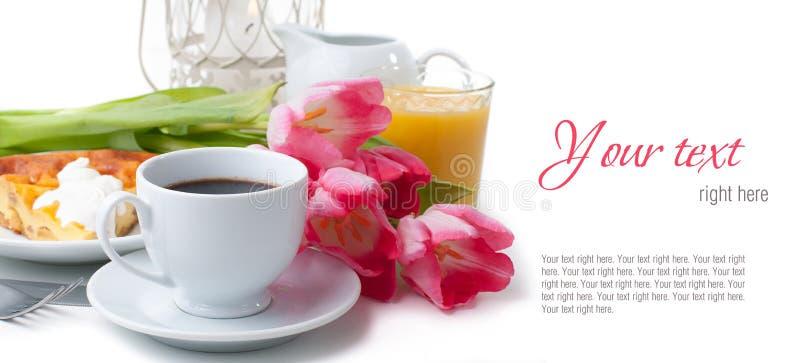 Elegant ontbijt, het dienen, klaar malplaatje royalty-vrije stock foto's