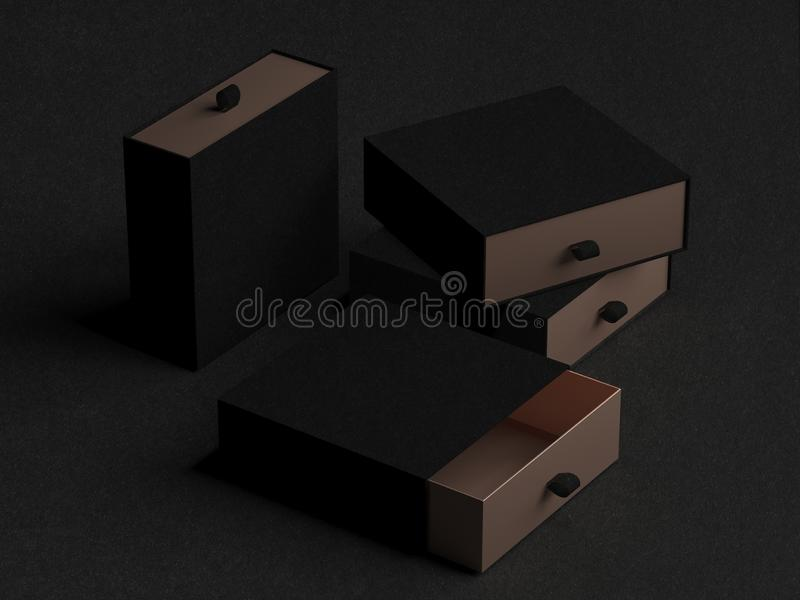 Elegant open black and gold Gift Box Mockup on black background. Luxury packaging box for premium products. Empty opened. Square box. 3d rendering stock photos