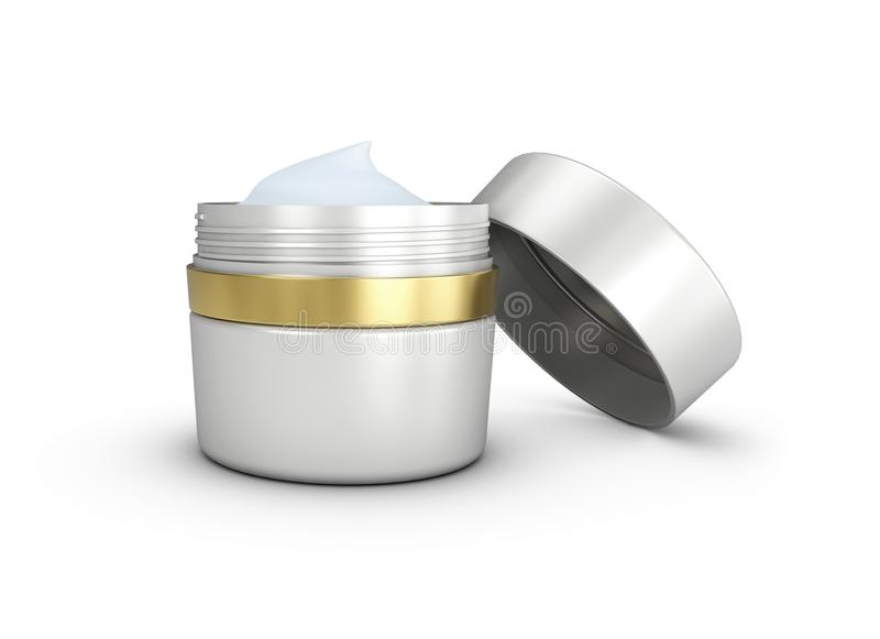 Elegant opened cream container, 3D illustration cosmetic bottle template for cream or gel. vector illustration