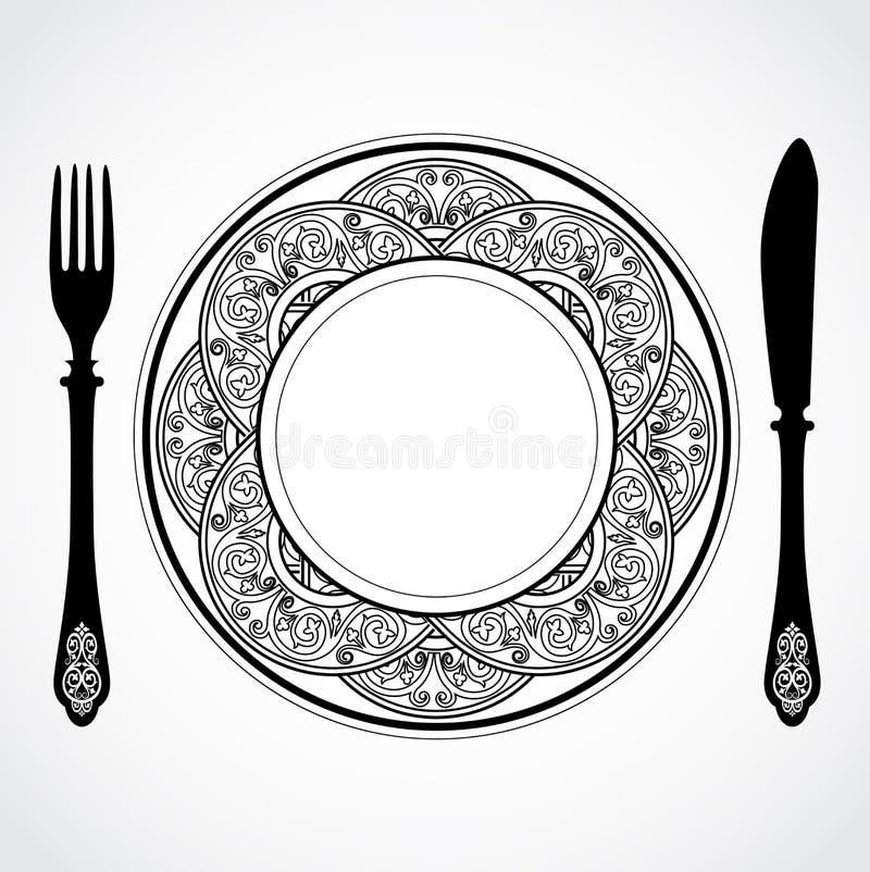 Free Elegant Ornamental Knife Fork And Plate Symbol Stock Photos - 73117983