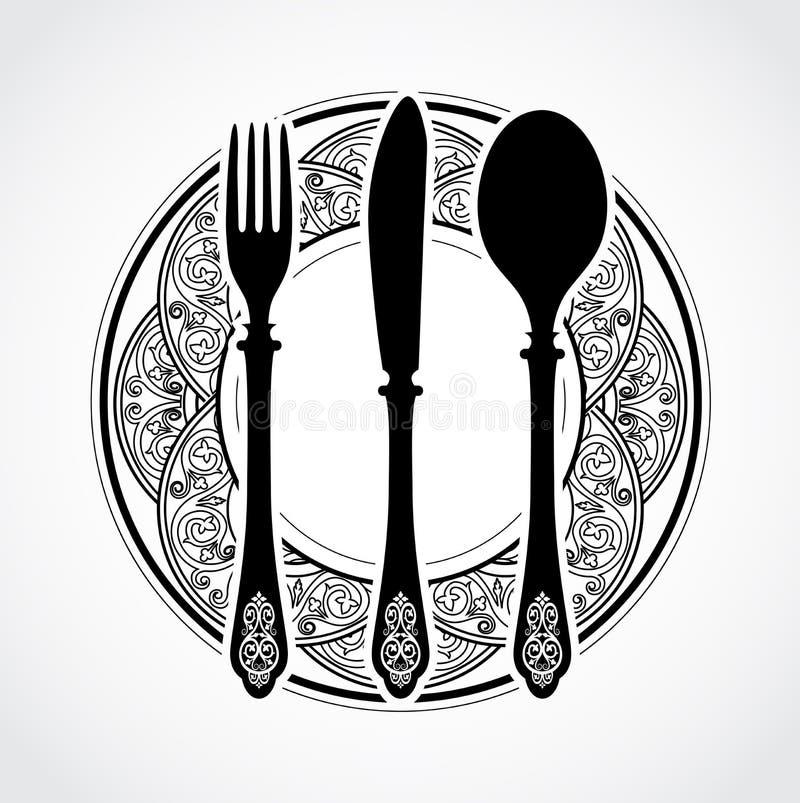 Free Elegant Ornamental Knife Fork And Spoon Symbol Stock Photos - 73118163