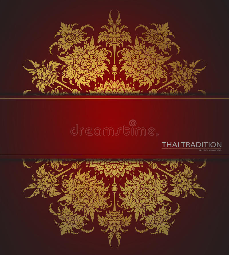 Elegant ornate background, thai tradition greeting card, menu. F. Loral elements, place for text. Vector vector illustration