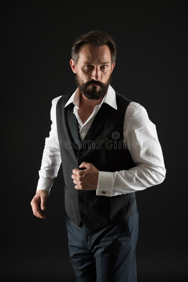Elegant outfit mature man. Take good care of your silhouette. How to dress for your age. Elegancy and male style. Formal stock photo