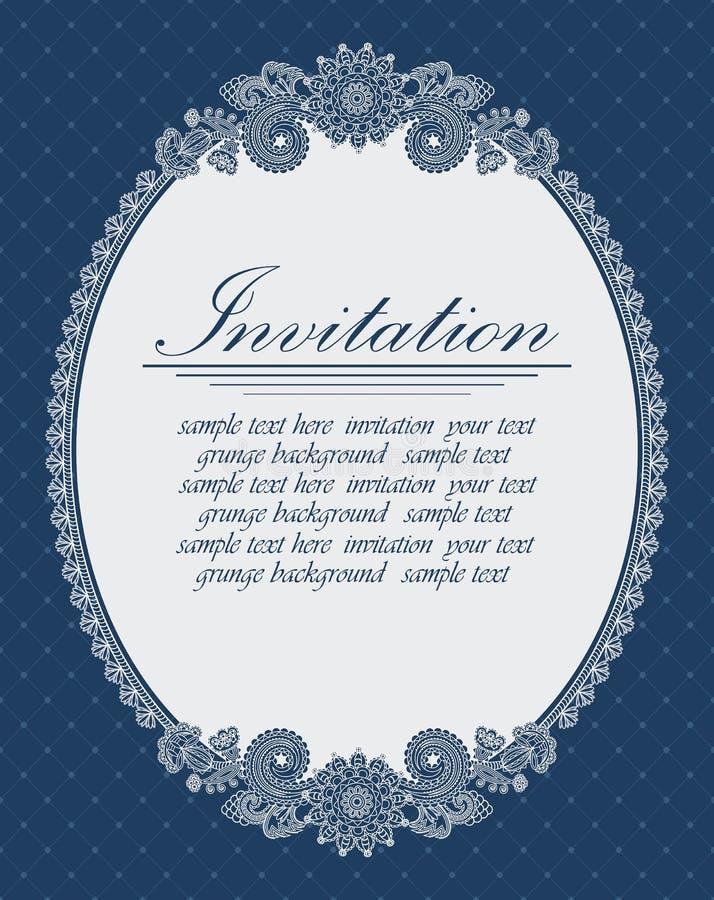 Elegant ovaal frame op een blauwe achtergrond royalty-vrije illustratie