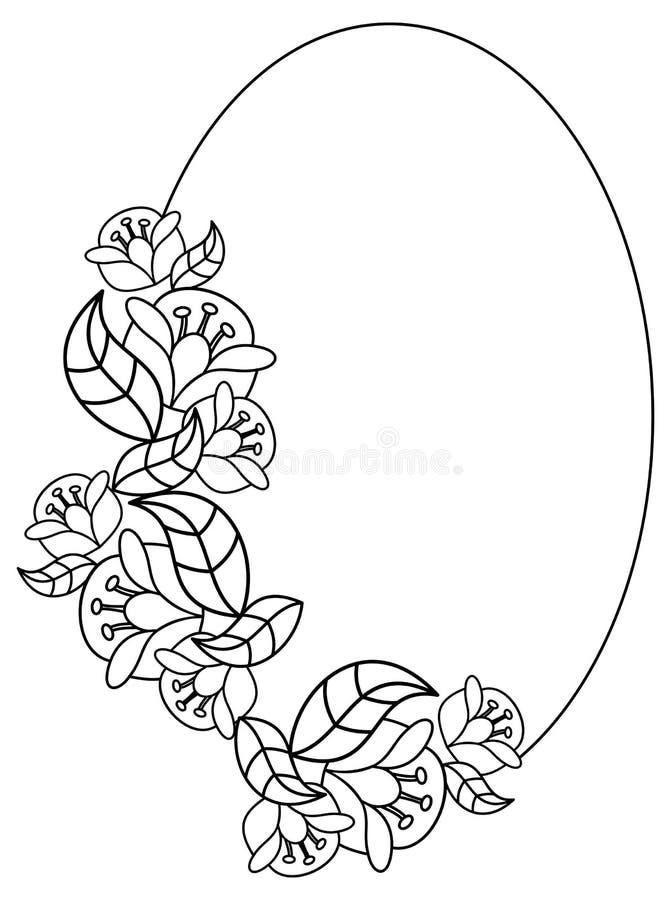 Elegant oval frame with contours of flowers. Raster clip art. Elegant oval frame with contours of flowers. Copy space. Raster clip art royalty free illustration